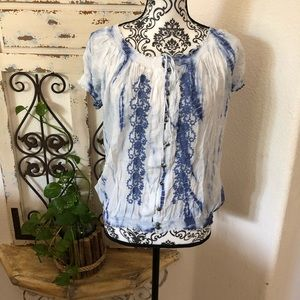 Fever tie dye embroidered detail blouse